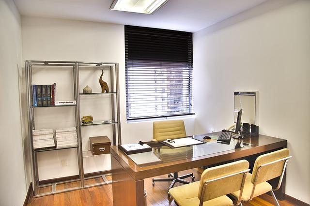 kancelář, stůl, židle, regál