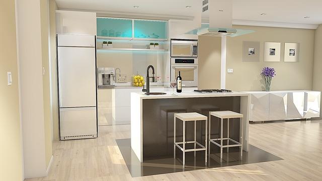 bílá kuchyně, návrh, moderna